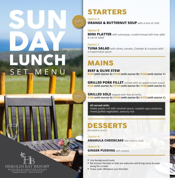 11.03.2018 Sunday Lunch Menu