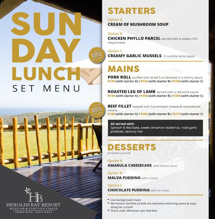 18.03.2018 Sunday Lunch Menu