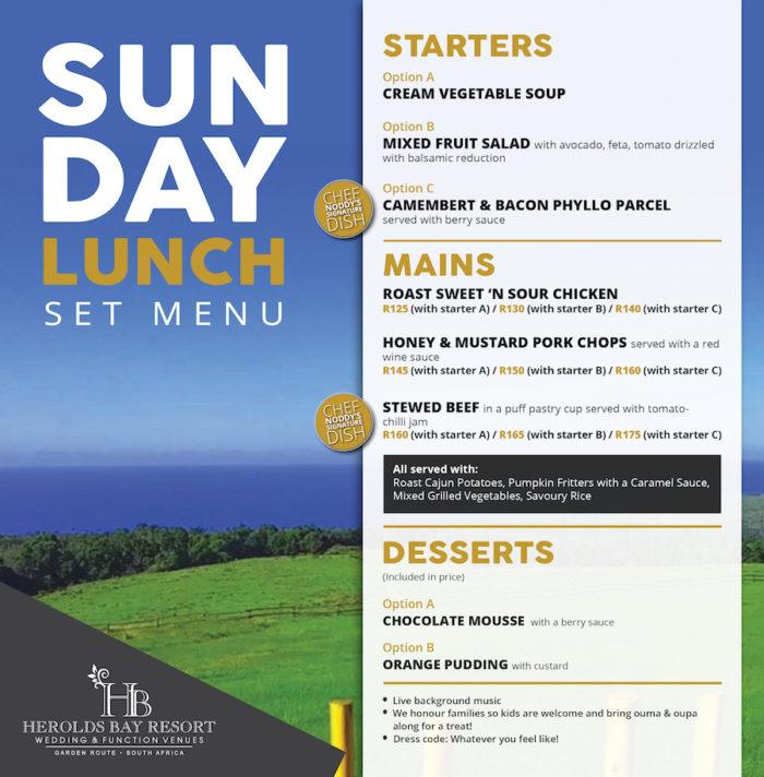 25.03.2018 Sunday Lunch Menu