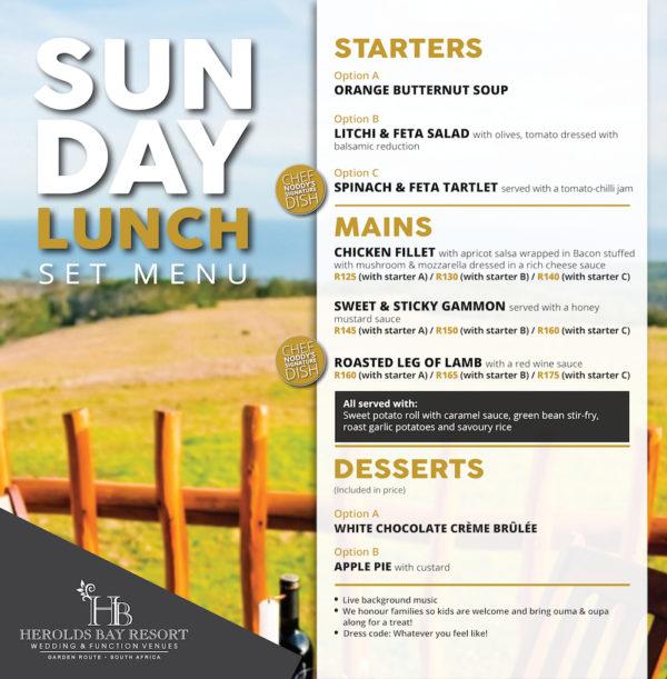 22.04.2018 Sunday Lunch Menu